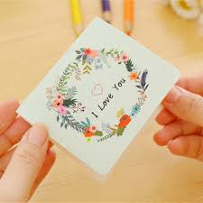 fashion diy retro flower mini birthday greeting cards multi style