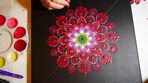 how to paint dot mandalas 15 red dahlia youtube