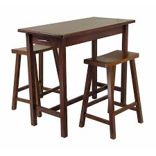 winsome 3pc kitchen island set table with 2 drawers and saddle
