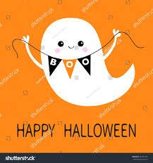 cartoon happy halloween background flying ghost spirit holding bunting flag stock vector 701373154
