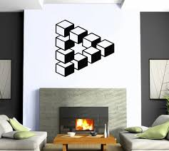 amazon com wall stickers vinyl decal optical illusion cube modern amazon com wall stickers vinyl decal optical illusion cube modern style home decor ig1307 home kitchen