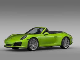 green porsche convertible porsche 911 carrera 4s cabriolet 991 2016 by creator 3d 3docean
