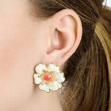 flower stud earrings large tropical flower stud earrings