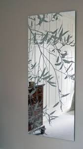 Etched Bathroom Mirror Large Frameless Bathroom Mirror With Etched Willow Leaves Etched