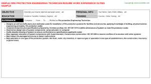 Sample Resume For Mechanical Technician by Fire Protection Engineering Technician Resumes Samples