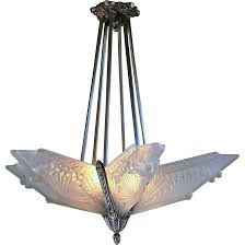 charles schneider french art deco slip shade chandelier with six