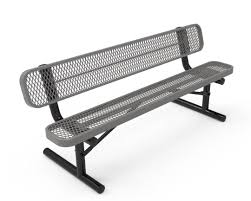 rhino quick ship 8 foot thermoplastic bench with back portable