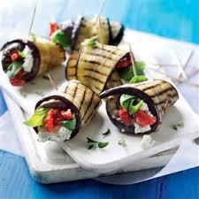 easy vegetarian canapes aubergine mozzarella and sundried tomato rolls food board