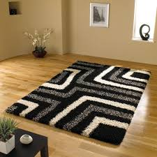 Modern Black Rug Large Quality Shaggy Modern Rug In Black Grey 6 7