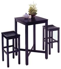 High Top Table Set Oasis 3 Piece Pub Set Black Transitional Indoor Pub And