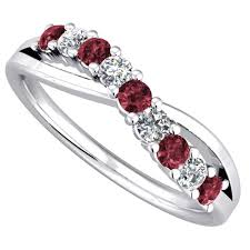 ruby eternity ring 9ct white gold ruby and diamond crossover eternity ring 9052 9w