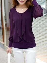 purple blouses falbala decoration chiffon blouse s tops
