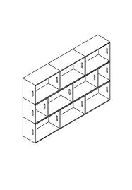 3d Bookshelf Brickbox Xl 3 Wide Low Bookshelf Bookcase Modmobili
