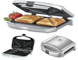 Toaster Press Nonstick Toaster Dual Sandwich Maker Electric Grill Cuisinart