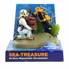1pc aquarium decor treasure diver fish tank