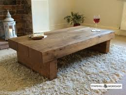 Hardwood Coffee Table Oak Beam Sleeper Coffee Table Solid Oak Rustic Handmade Chunky