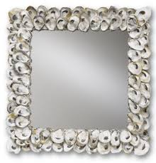 home decor oyster shell wall mirror square currey and company