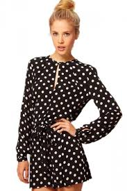 plus size black cute long sleeve polka dot romper long sleeve shirt