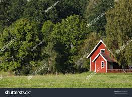 old rural red cottages set beautiful stock photo 216536920