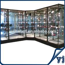 lockable glass display cabinet showcase pre assembled packing hexagon lockable rotating showcase revolving