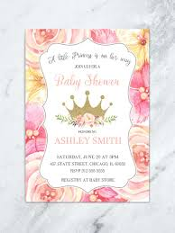 baby shower invitations girl pink and gold floral princess baby shower invitation floral crown