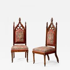 Slipper Chairs Thomas Brooks Pair Of Gothic Revival Carved Rosewood Slipper Chairs