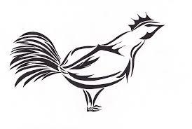 outline tribal rooster design