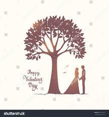 romantic silhouette loving couple under amazing stock vector