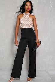 formal jumpsuit black beige sequins accent sleeveless formal jumpsuit