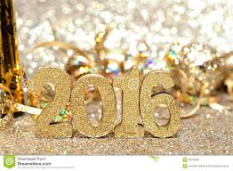 new years 2016 decorations with twinkling light background