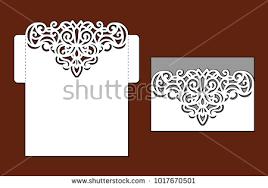 envelope border pattern wedding invitation lace border laser cut stock vector 1017670501