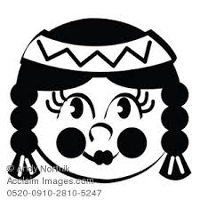 thanksgiving indian black and white clipart