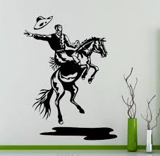 rodeo wall decal cowboy retro poster horse vinyl sticker home