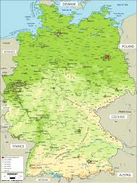 geographical map of germany large physical map of germany