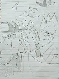 kakashi hatake u0026 obito uchiha naruto shippuden pencil sketch