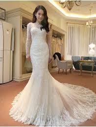 korean wedding dress luxury lace mermaid wedding dress 2017 korean sleeves vestido