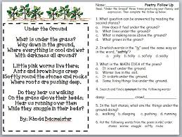 third grade thinkers soil poetry follow ups