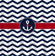 Navy And Red Shower Curtain Custom Personalized Shower Curtain Chevron And Anchor Frame