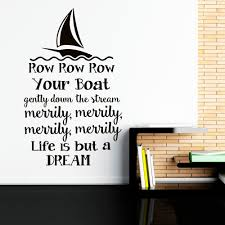 Home Decor Quotes by Wall Decal Row Row Row Your Boat Nursery Song Quote Nursery