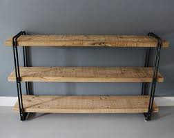 Rustic Wood Bookshelves by Rustic Wood And Pipe Shelf With Pendant Lighting Rustic