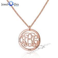 sterling silver monogram necklace pendant trendy personalized 925 sterling silver monogram necklace unique