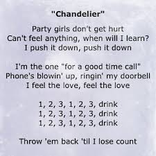 Chandelier Lyrics 1 2 3 1 2 3 Drink Chandelier Sia In Thought
