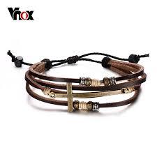cross bracelet leather images Vnox genuine real leather cross bracelets bangles for women men jpg