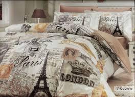 Vintage Comforter Sets Paris Deco 100 Cotton 4pcs Eiffel Vintage Brown Twin Size