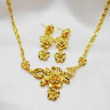fashion jewelry necklace sets images 2018 fashion jewelry women wedding set 24k yellow gold filled jpg