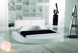 modern white leather headboard round bed king tos t009 wh k