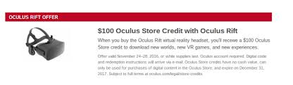 best used deals black friday get 100 oculus store credit with a rift with this black friday deal