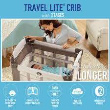 How To Convert Graco Crib To Toddler Bed by Graco Travel Lite Ultra Comfy Crib With Stages Two Level Bassinet