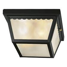Hampton Bay Outdoor Light Fixtures by Hampton Bay 2 Light Matte Black Outdoor Flushmount Wb0325 The