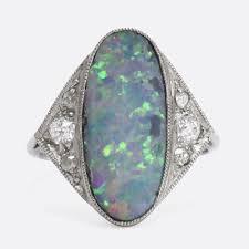 black opal edwardian black opal u0026 diamond cocktail ring u2013 butter lane antiques